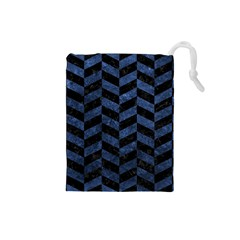 Chevron1 Black Marble & Blue Stone Drawstring Pouch (small) by trendistuff