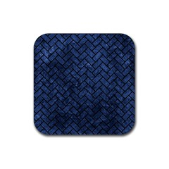 Brick2 Black Marble & Blue Stone (r) Rubber Square Coaster (4 Pack) by trendistuff