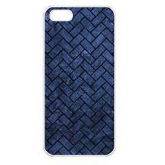 Brick2 Black Marble & Blue Stone (r) Apple Iphone 5 Seamless Case (white) by trendistuff