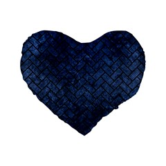 Brick2 Black Marble & Blue Stone (r) Standard 16  Premium Flano Heart Shape Cushion  by trendistuff