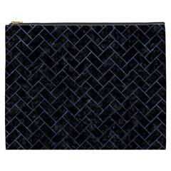 Brick2 Black Marble & Blue Stone Cosmetic Bag (xxxl) by trendistuff