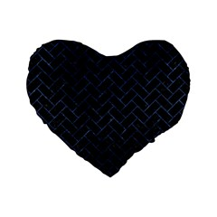 Brick2 Black Marble & Blue Stone Standard 16  Premium Flano Heart Shape Cushion  by trendistuff