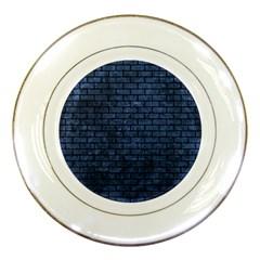 Brick1 Black Marble & Blue Stone (r) Porcelain Plate by trendistuff