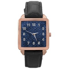 Brick1 Black Marble & Blue Stone (r) Rose Gold Leather Watch  by trendistuff