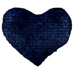 Brick1 Black Marble & Blue Stone (r) Large 19  Premium Flano Heart Shape Cushion by trendistuff
