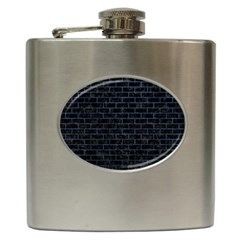 Brick1 Black Marble & Blue Stone Hip Flask (6 Oz) by trendistuff