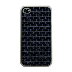 Brick1 Black Marble & Blue Stone Apple Iphone 4 Case (clear) by trendistuff
