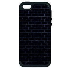 Brick1 Black Marble & Blue Stone Apple Iphone 5 Hardshell Case (pc+silicone) by trendistuff