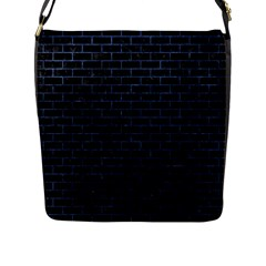 Brick1 Black Marble & Blue Stone Flap Closure Messenger Bag (l) by trendistuff