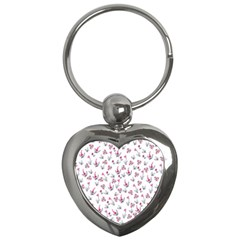 Heart Ornaments And Flowers Background In Vintage Style Key Chains (heart)  by TastefulDesigns