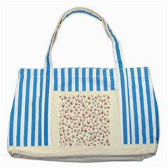 Heart Ornaments And Flowers Background In Vintage Style Striped Blue Tote Bag by TastefulDesigns
