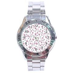 Heart Ornaments And Flowers Background In Vintage Style Stainless Steel Analogue Watch by TastefulDesigns
