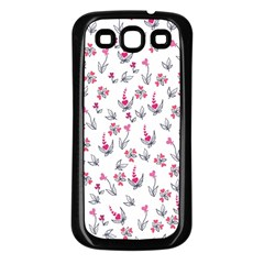 Heart Ornaments And Flowers Background In Vintage Style Samsung Galaxy S3 Back Case (black) by TastefulDesigns