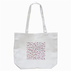Heart Ornaments And Flowers Background In Vintage Style Tote Bag (white) by TastefulDesigns