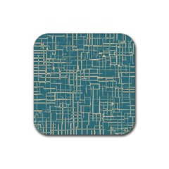 Hand Drawn Lines Background In Vintage Style Rubber Square Coaster (4 Pack)  by TastefulDesigns