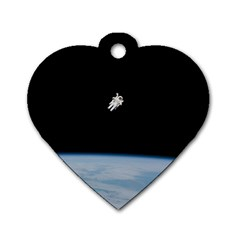 Amazing Stunning Astronaut Amazed Dog Tag Heart (two Sides) by Simbadda
