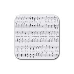 Jingle Bells Song Christmas Carol Rubber Square Coaster (4 Pack)  by Simbadda