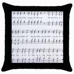 Jingle Bells Song Christmas Carol Throw Pillow Case (black) by Simbadda
