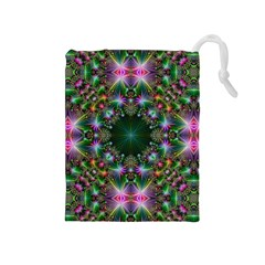 Digital Kaleidoscope Drawstring Pouches (medium)  by Simbadda