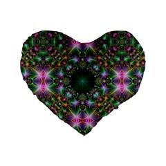 Digital Kaleidoscope Standard 16  Premium Flano Heart Shape Cushions by Simbadda
