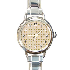 Pattern Background Retro Round Italian Charm Watch by Simbadda