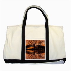 Aurora Sunset Sun Landscape Two Tone Tote Bag by Simbadda