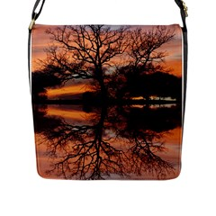 Aurora Sunset Sun Landscape Flap Messenger Bag (l)  by Simbadda