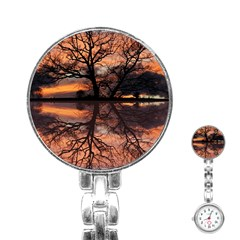 Aurora Sunset Sun Landscape Stainless Steel Nurses Watch by Simbadda