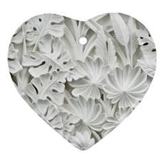 Pattern Motif Decor Heart Ornament (two Sides) by Simbadda