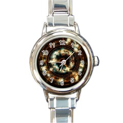Science Fiction Energy Background Round Italian Charm Watch by Simbadda