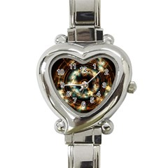Science Fiction Energy Background Heart Italian Charm Watch by Simbadda