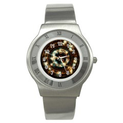 Science Fiction Energy Background Stainless Steel Watch by Simbadda