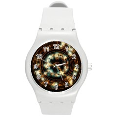 Science Fiction Energy Background Round Plastic Sport Watch (m) by Simbadda