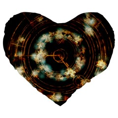 Science Fiction Energy Background Large 19  Premium Flano Heart Shape Cushions by Simbadda