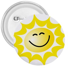 The Sun A Smile The Rays Yellow 3  Buttons by Simbadda
