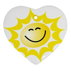 The Sun A Smile The Rays Yellow Ornament (heart) by Simbadda
