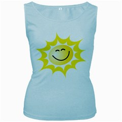 The Sun A Smile The Rays Yellow Women s Baby Blue Tank Top by Simbadda