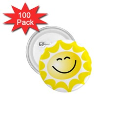 The Sun A Smile The Rays Yellow 1 75  Buttons (100 Pack)  by Simbadda