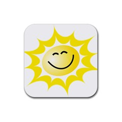 The Sun A Smile The Rays Yellow Rubber Coaster (square)  by Simbadda