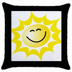The Sun A Smile The Rays Yellow Throw Pillow Case (black) by Simbadda