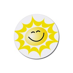 The Sun A Smile The Rays Yellow Rubber Round Coaster (4 Pack)  by Simbadda