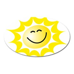 The Sun A Smile The Rays Yellow Oval Magnet by Simbadda