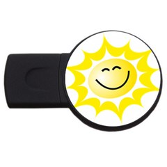 The Sun A Smile The Rays Yellow Usb Flash Drive Round (2 Gb) by Simbadda