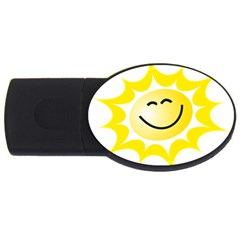 The Sun A Smile The Rays Yellow Usb Flash Drive Oval (2 Gb) by Simbadda