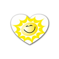 The Sun A Smile The Rays Yellow Heart Coaster (4 Pack)  by Simbadda