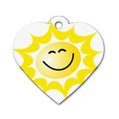 The Sun A Smile The Rays Yellow Dog Tag Heart (two Sides) by Simbadda