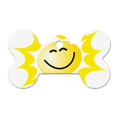The Sun A Smile The Rays Yellow Dog Tag Bone (one Side) by Simbadda