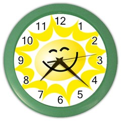 The Sun A Smile The Rays Yellow Color Wall Clocks by Simbadda