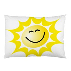 The Sun A Smile The Rays Yellow Pillow Case (two Sides) by Simbadda