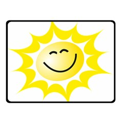 The Sun A Smile The Rays Yellow Double Sided Fleece Blanket (small)  by Simbadda
